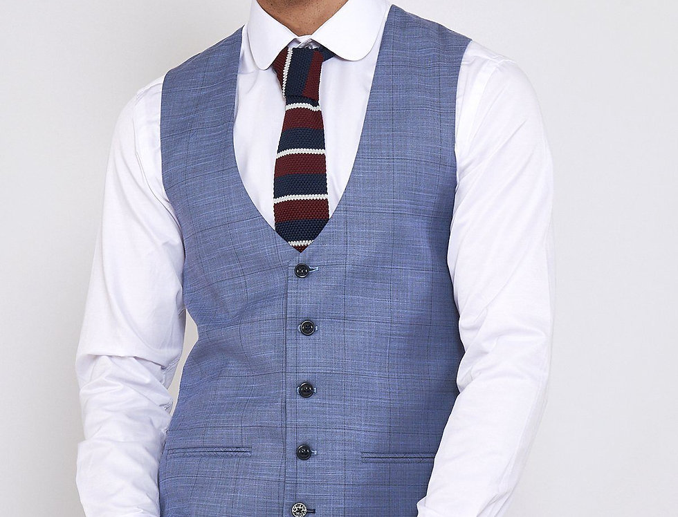 Marc Darcy - SID - Blue Grey Check Single Breasted Waistcoat