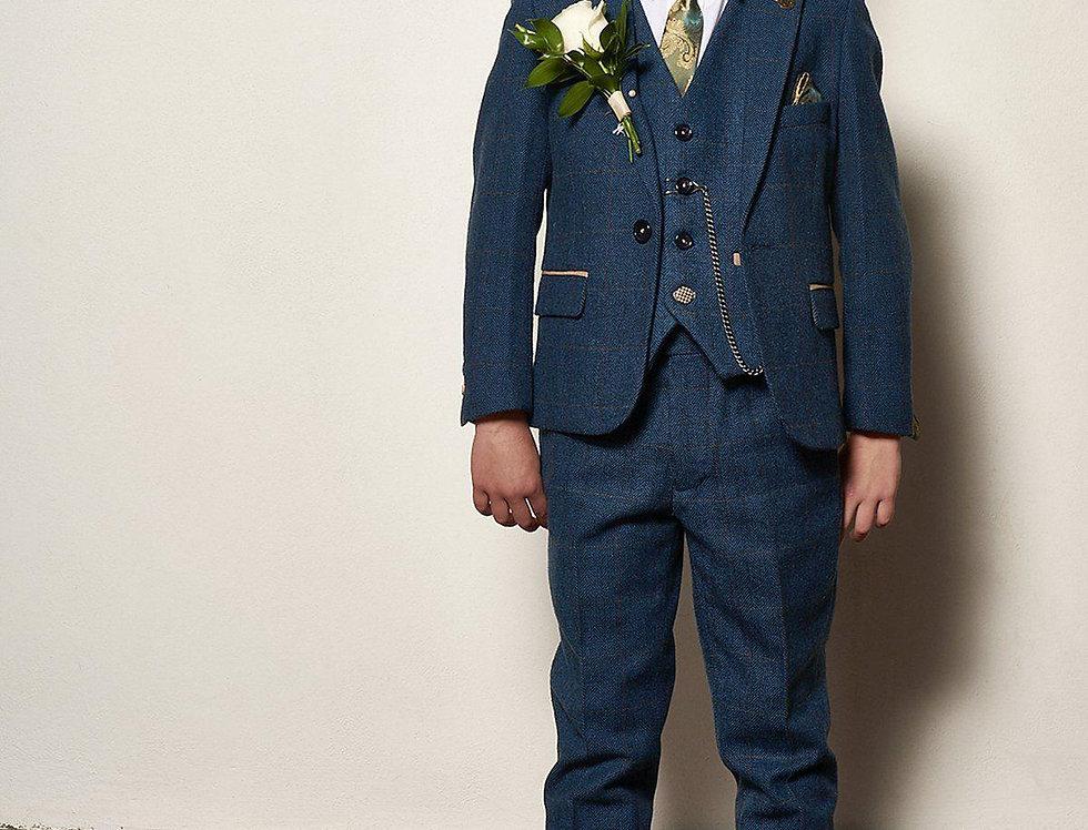 Marc Darcy Kids - DION - Blue Tweed Check Three Piece Suit