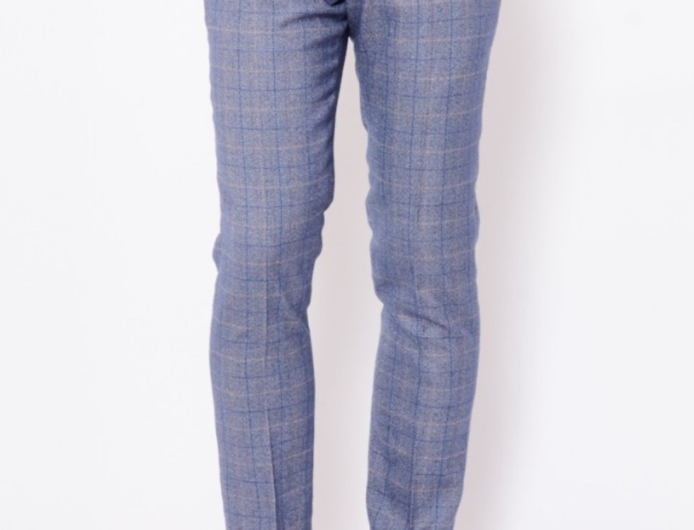 Marc Darcy - Hilton/Harry - Blue Check Print Tweed Trousers