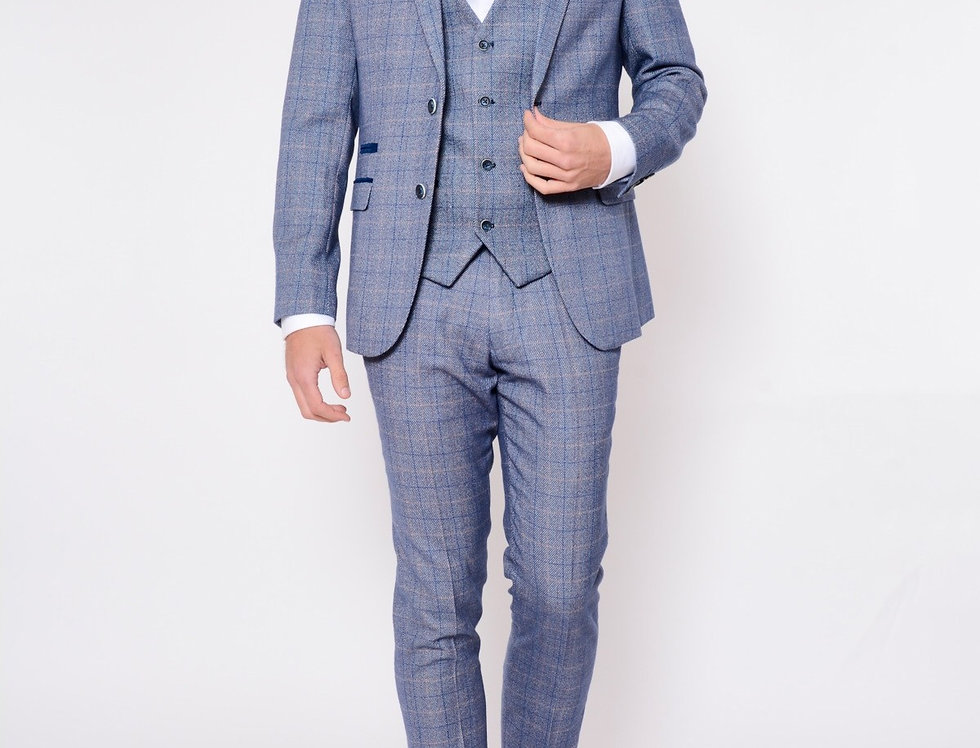 Marc Darcy - Harry - Blue Check Print Tweed Three Piece Suit