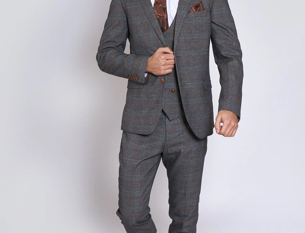 Marc Darcy - JENSON - Grey Check Suit With Double Breasted Waistcoat