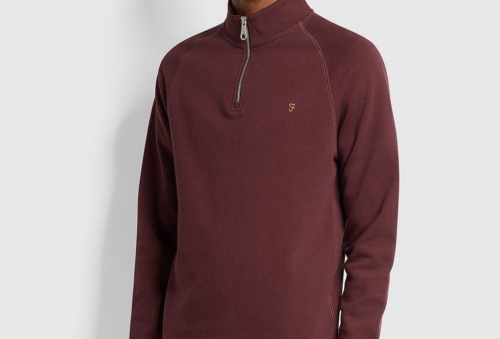 Farah - Jim Cotton Quarter Zip Sweatshirt - Farah Red Marl