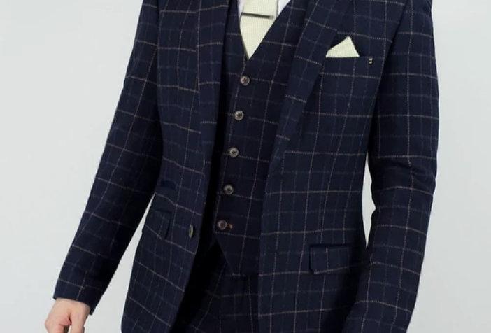 Cavani - Shelby Tweed Check Three Piece Suit - Navy