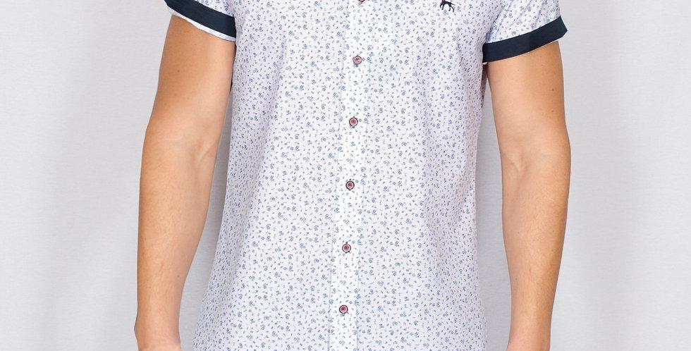Bewley & Ritch - Slim Fit White Ditsy Short Sleeve Mataro Shirt - White