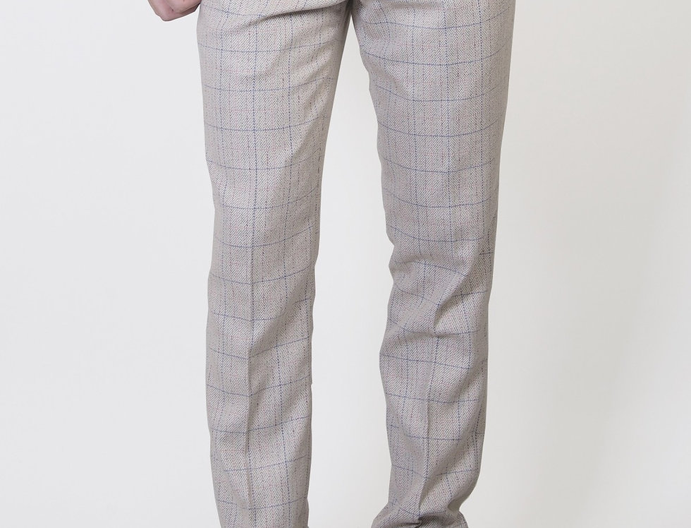 Marc Darcy - Harding - Cream Tweed Check Print Trousers