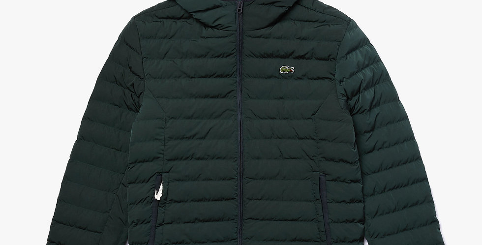 Lacoste - Lightweight Foldable Hooded Water-Resistant Puffer Coat - Green