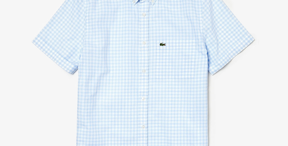Lacoste - Check Cotton Poplin Short Sleeves Shirt - Light Blue