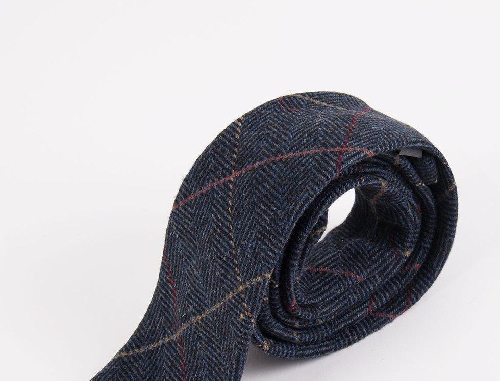 Marc Darcy - Eton - Navy Blue Check Tweed Tie