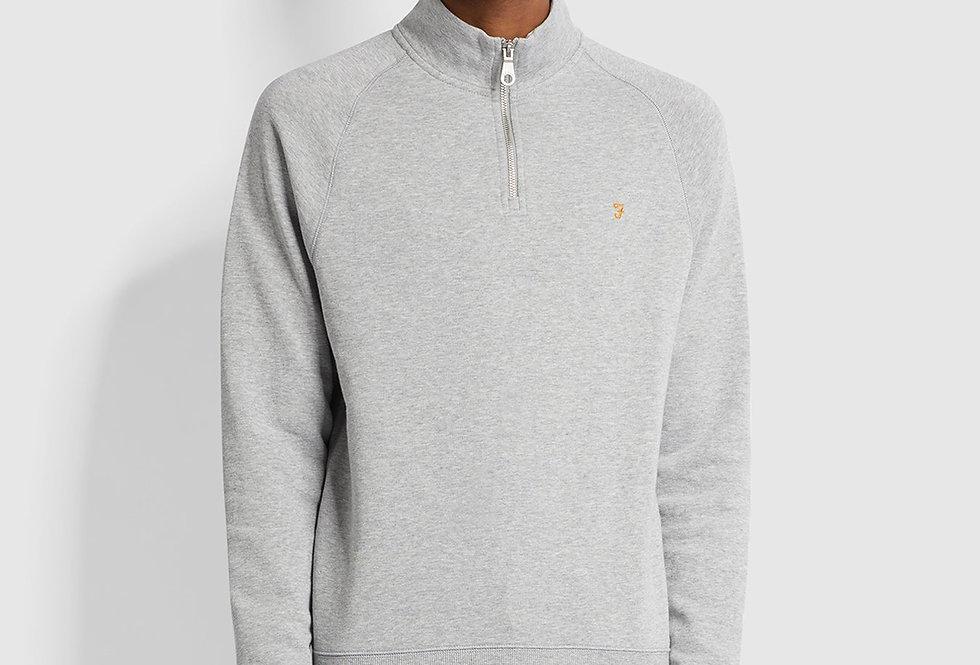 Farah - Jim Cotton Quarter Zip Sweatshirt - Grey