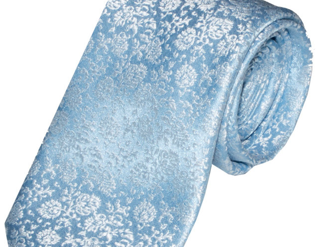 Lloyd Attree & Smith - Floral Poly Viscose Tie - Blue