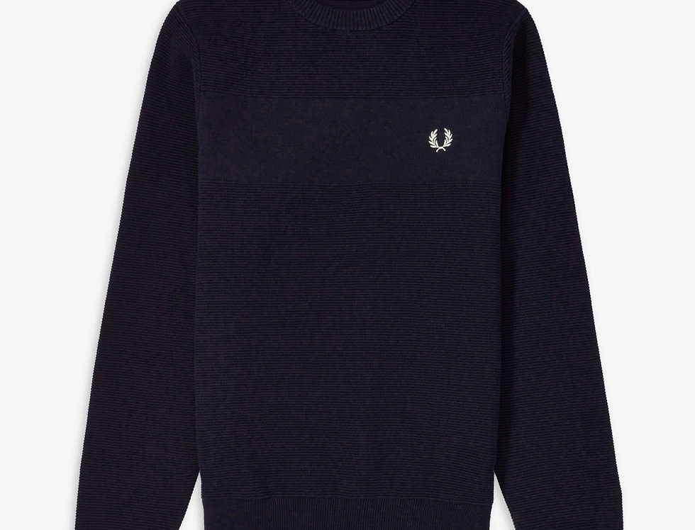 Fred Perry - Textured Stripe Jumper - Black Navy