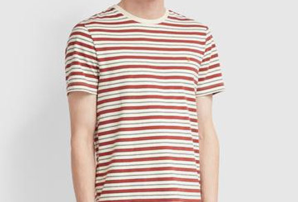 Farah - Slim Fit Striped T-Shirt - Cream