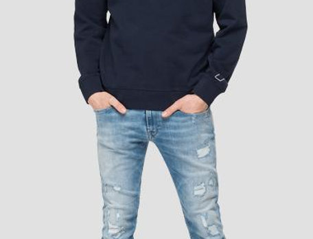 Replay - Crewneck Print Sweatshirt - Navy