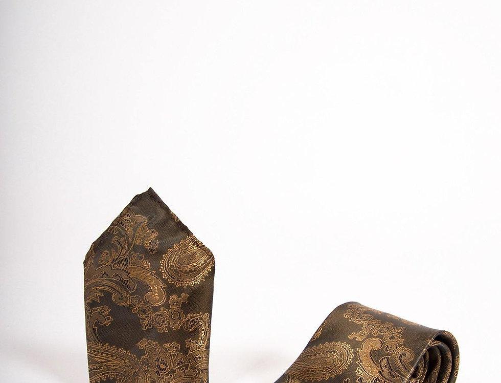 Marc Darcy - Tan Paisley Tie, Cufflink & Pocket Square Set
