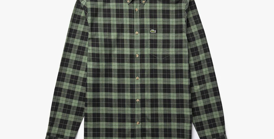 Lacoste - Regular Fit Cotton Twill Checkered Shirt - Green
