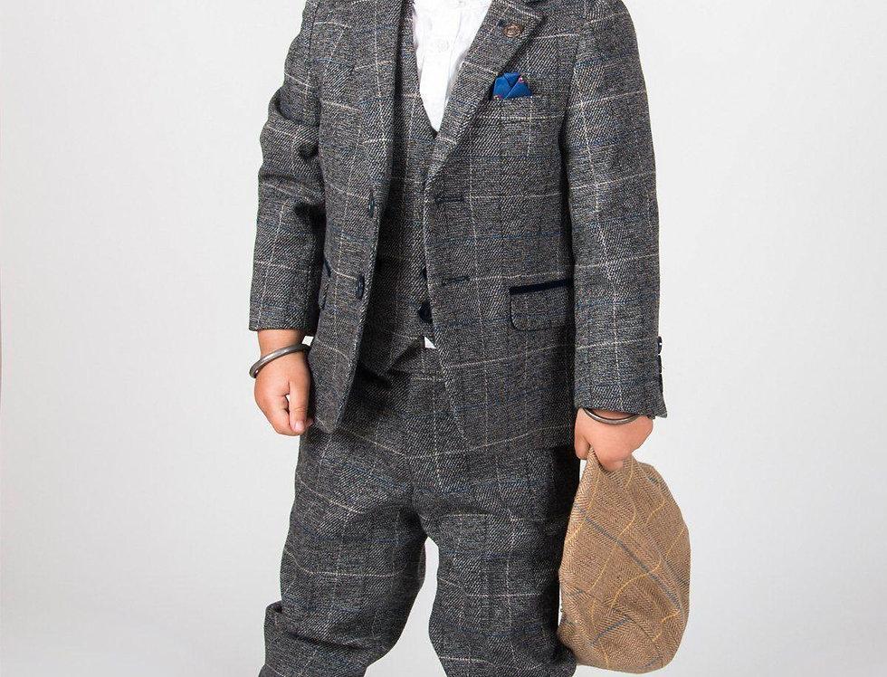 Marc Darcy Kids - SCOTT - Grey Check Three Piece Suit