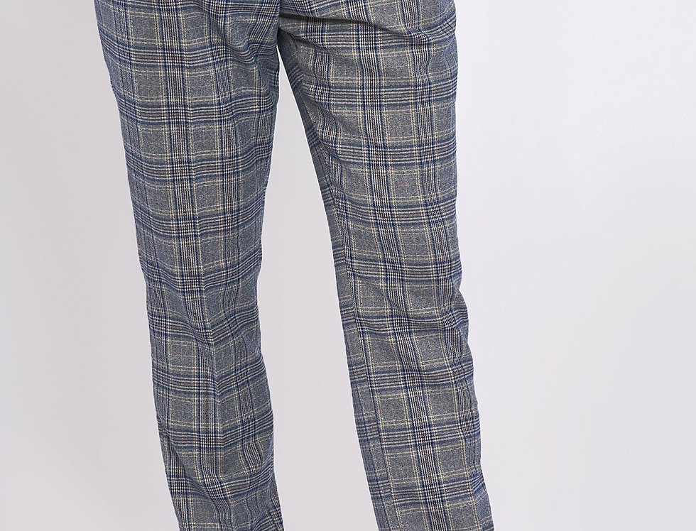 Marc Darcy -ENZO - Sky Stone Check Tweed Trousers