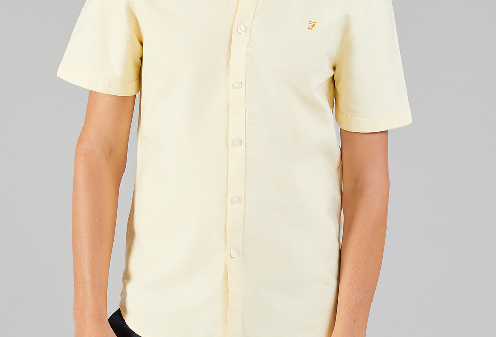 Farah - Brewer Button Down Short Sleeve Shirt - Acid Yellow