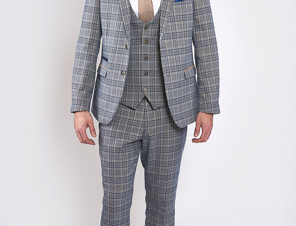Marc Darcy - ENZO - Sky/Stone Tweed Check Three Piece Suit