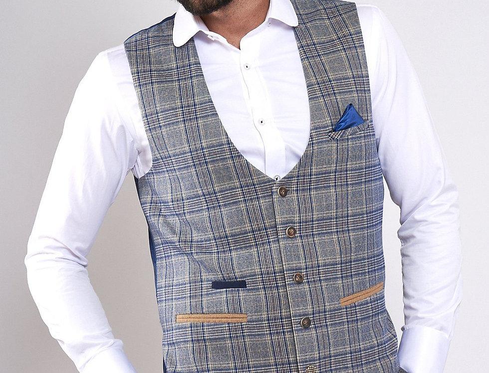 Marc Darcy -ENZO - Sky Stone Check Tweed Single Breasted Waistcoat