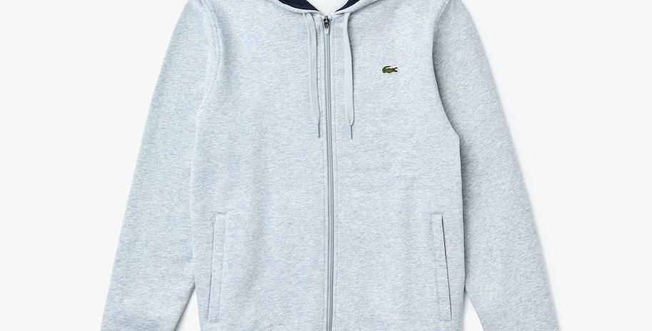 Lacoste Sport hooded zippered fleece sweatshirt - Grey