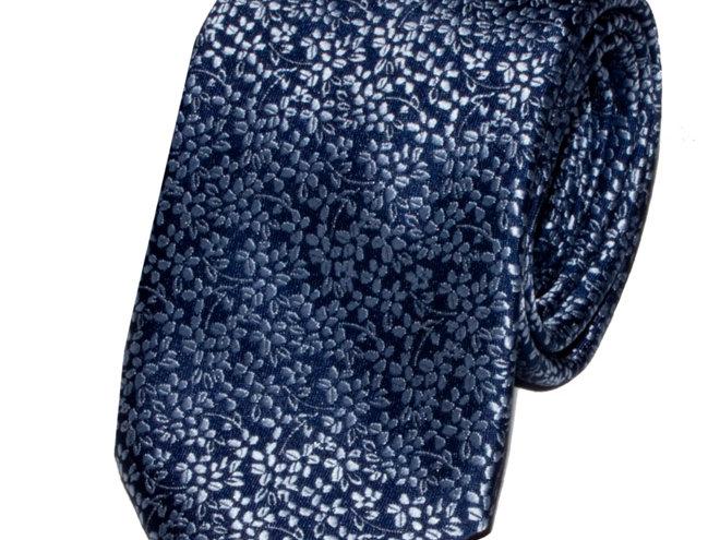 Lloyd Attree & Smith - Floral Poly Standard Tie - Blue