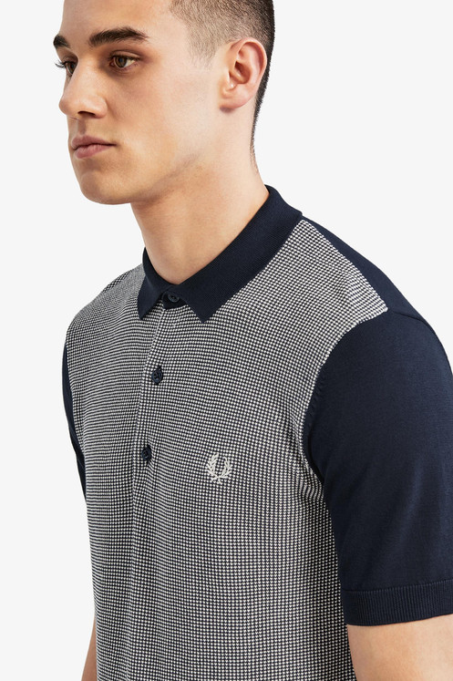 3f8a05728 Fred Perry - Two Colour Knitted Polo Shirt - Deep Carbon