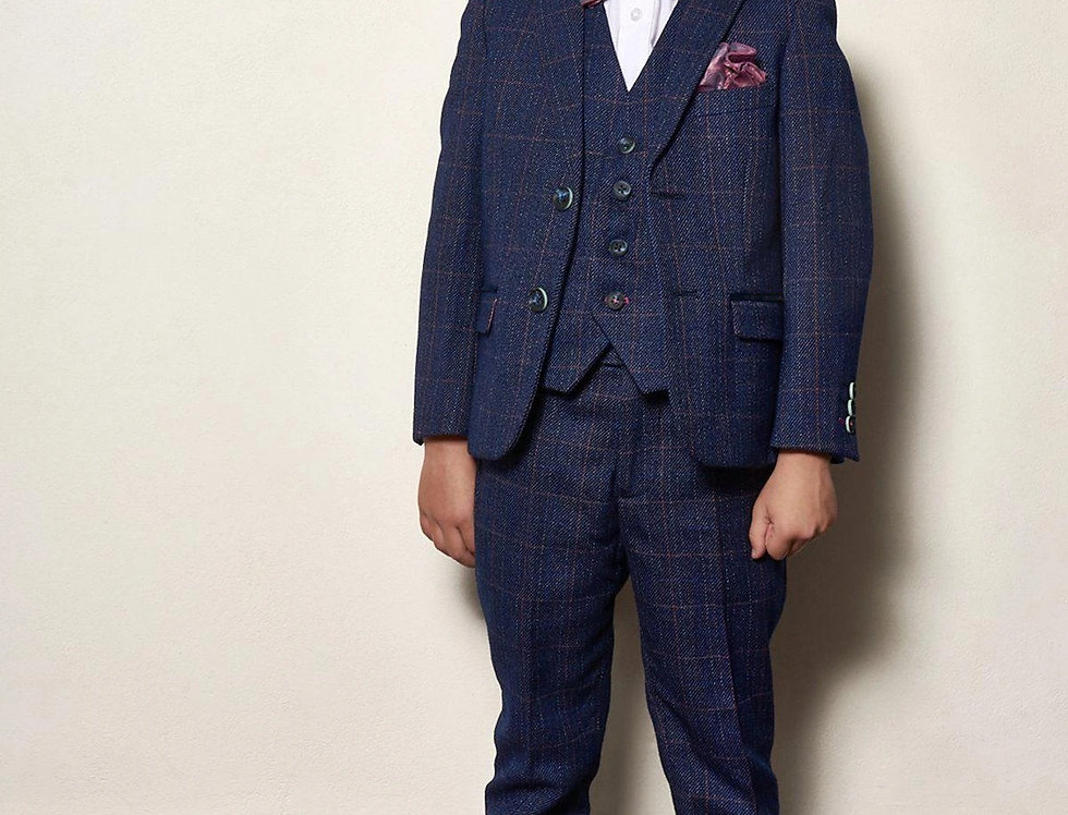 Marc Darcy Kids - HARRY - Indigo Tweed Check Three Piece Suit