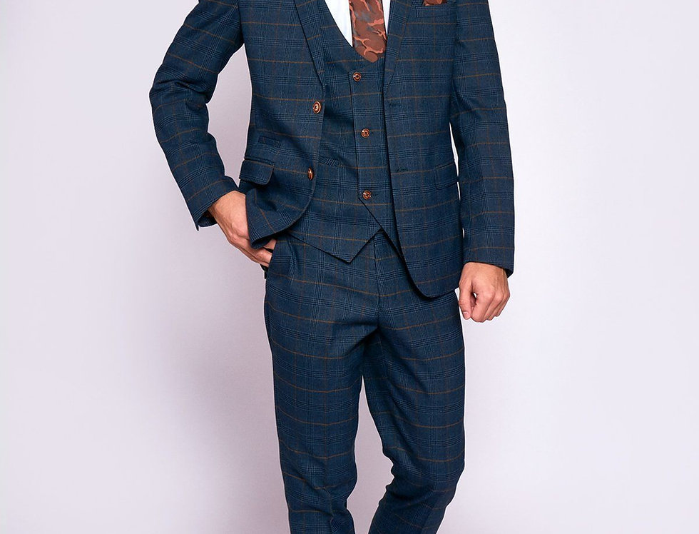 Marc Darcy - JENSON - Marine Navy Check Suit With Double Breasted Waistcoat