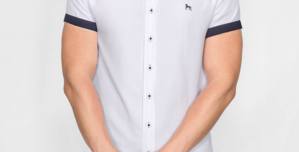 Bewley & Ritch - Slim Fit Oxford Short Sleeve Galand Shirt - White