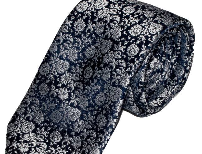 Lloyd Attree & Smith - Floral Poly Viscose Tie - Navy