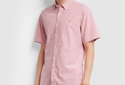 Farah - Steen Slim Fit Short Sleeve Brushed Cotton Shirt - Dusty Rose