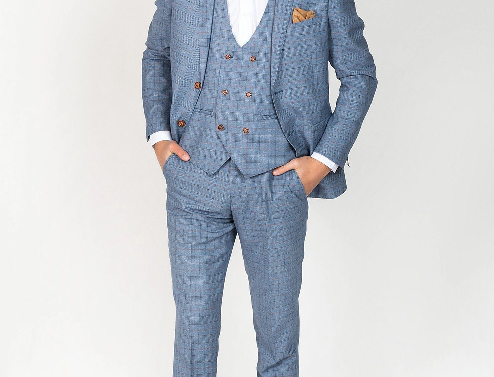 Marc Darcy - GEORGE - Light Blue Check Suit