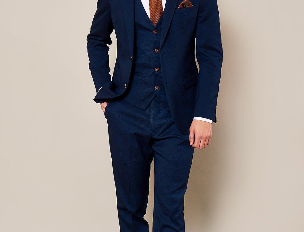 Marc Darcy - MAX - Royal Blue Three Piece Suit with Contrast Buttons