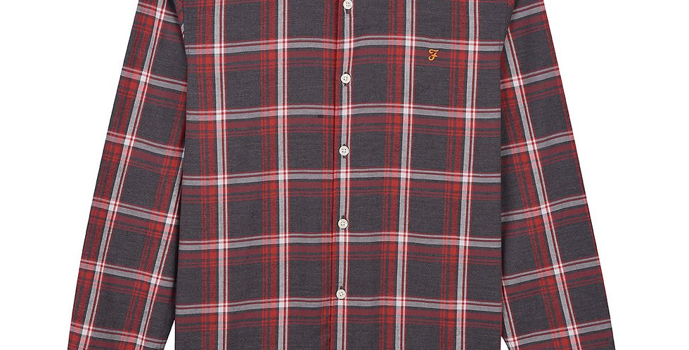 Farah - Steen Slim Fit Brushed Cotton Check Shirt  - Farah Russet