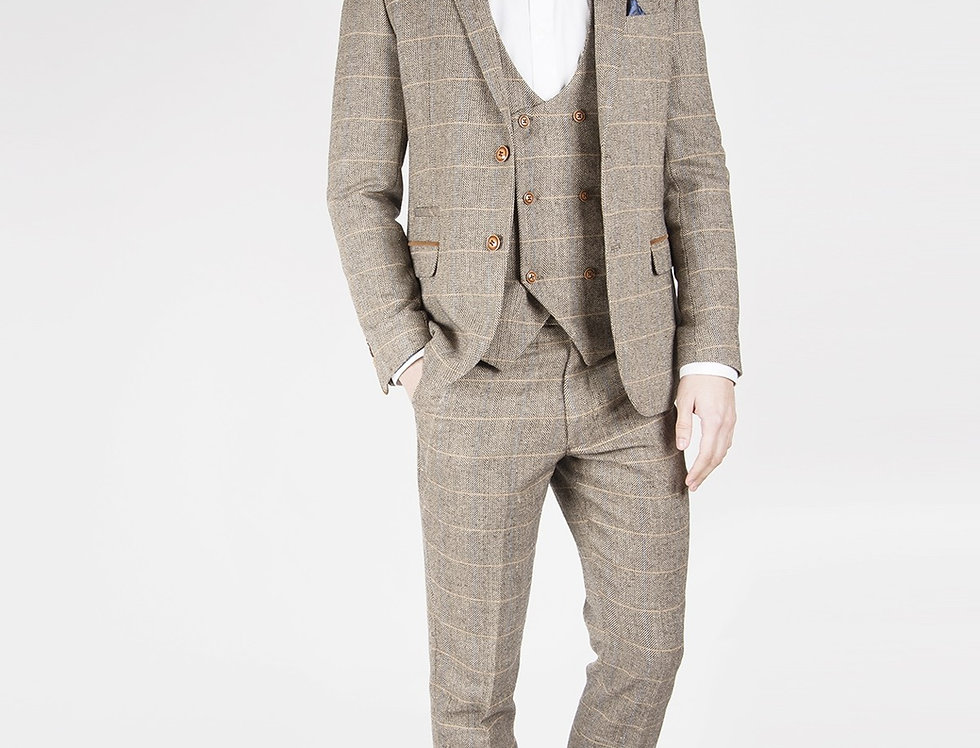 Marc Darcy - Ted - Tan Tweed Herringbone Three Piece Suit With DB Waistcoat