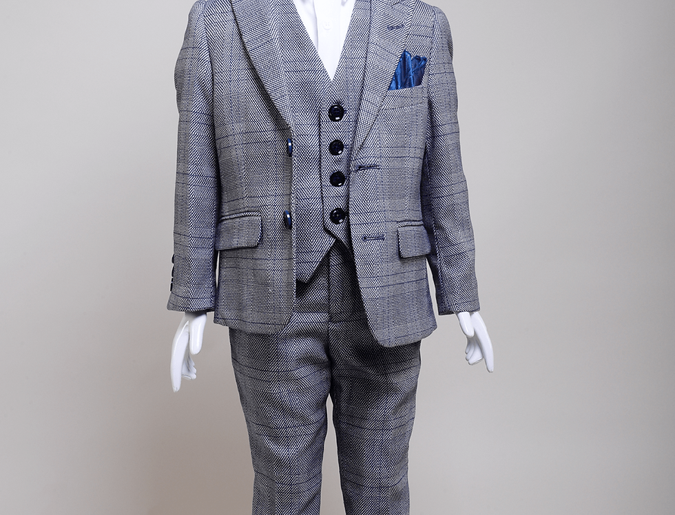 Marc Darcy Kids - JERRY - Grey Check Three Piece Suit