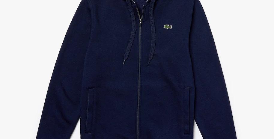 Lacoste Sport hooded zippered fleece sweatshirt - Navy