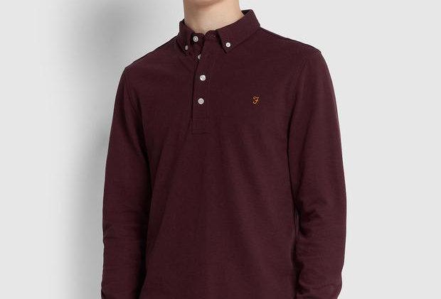 Farah - Ricky Long Sleeve Polo Shirt - Farah Burgundy