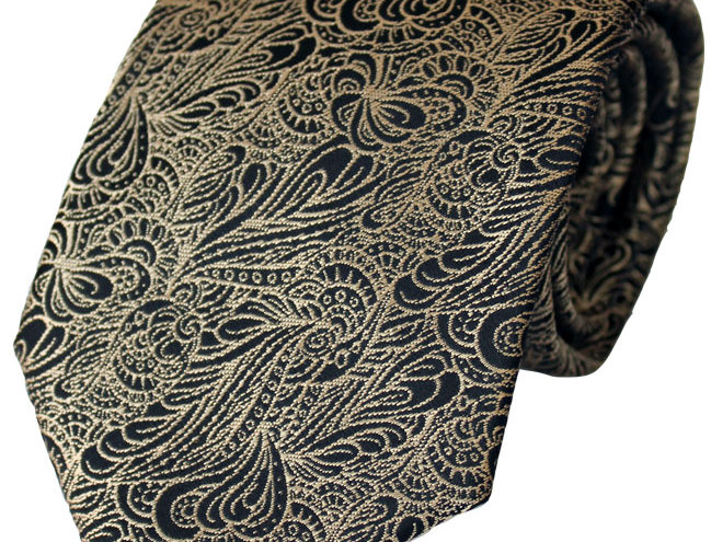Lloyd Attree & Smith - Swirl Pattern Poly Tie - Gold