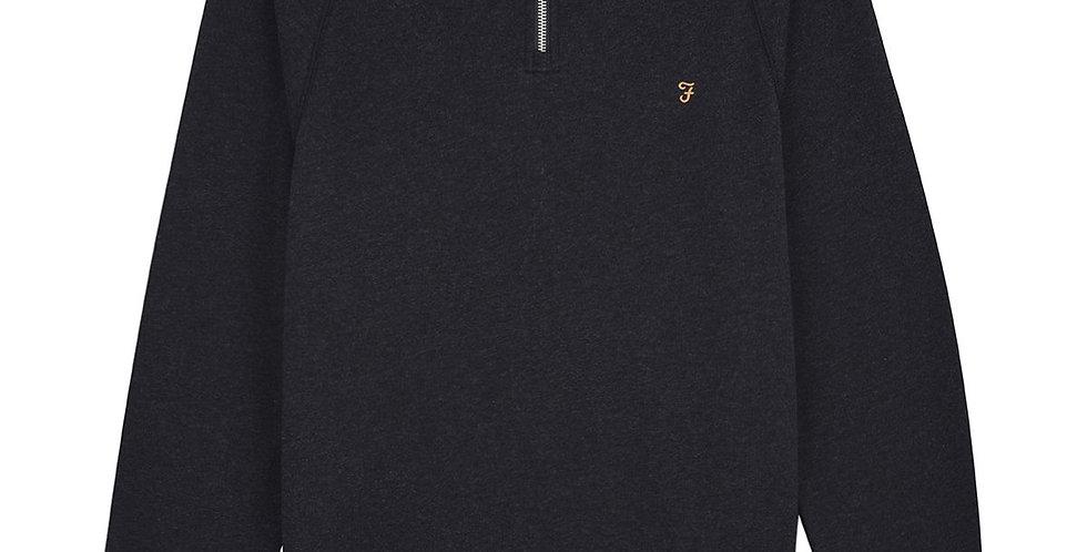 Farah - Jim Cotton Quarter Zip Sweatshirt - Black Marl