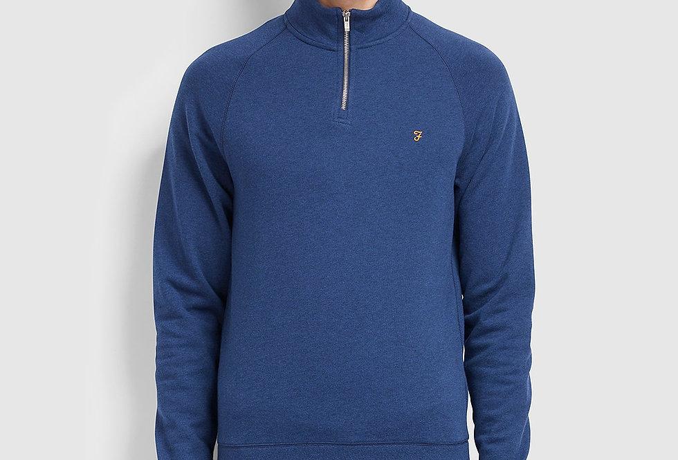 Farah - Jim Cotton Quarter Zip Sweatshirt - Ultra Marine Marl