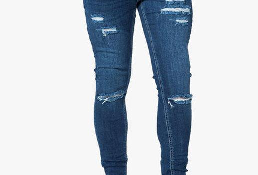 Level 1/11 Degrees - Ripped Skinny Jeans - Indigo