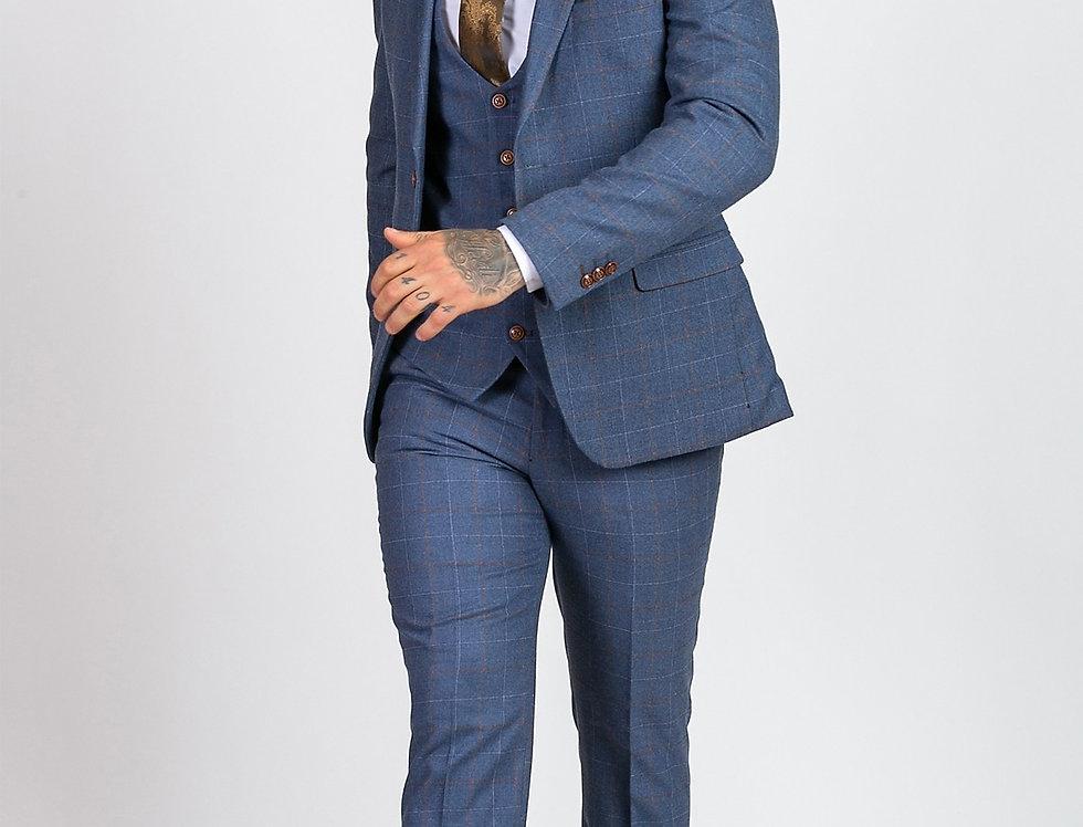Marc Darcy - Mathew - Sky Blue Tweed Check Three Piece Suit