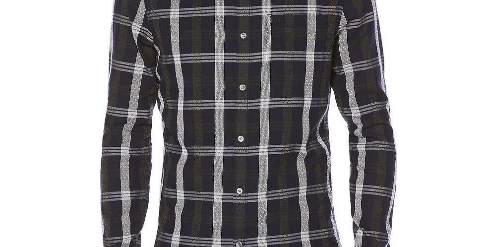 Original Penguin - Nep Plaid Long Sleeve Shirt - Dark Saphire