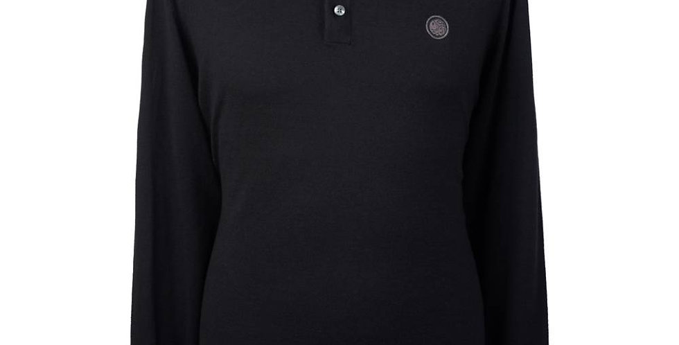 Pretty Green - Long Sleeve Tipped Knitted Polo Shirt - Black