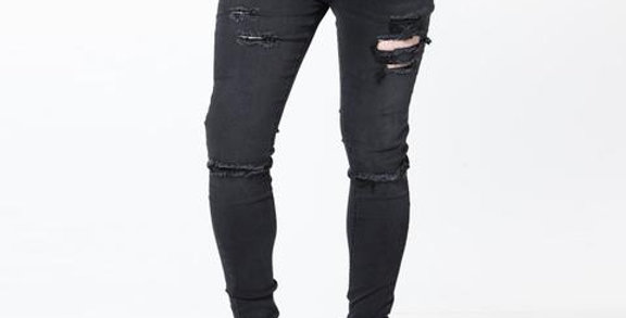Level 1/11 Degrees - Distressed Skinny Jeans - Washed Black