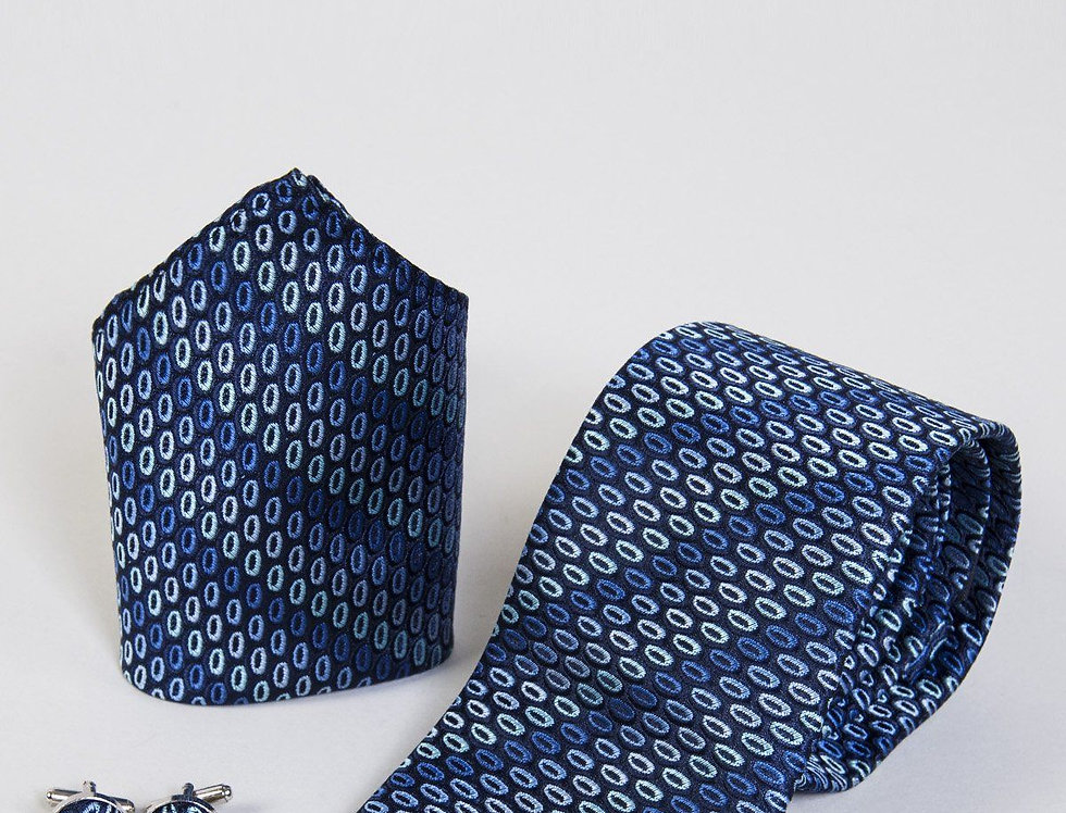 Marc Darcy - Navy Oval Tie, Cufflink & Pocket Square Set
