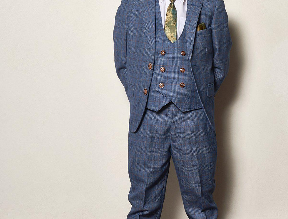 Marc Darcy Kids - GEORGE - Light Blue Check Three Piece Suit