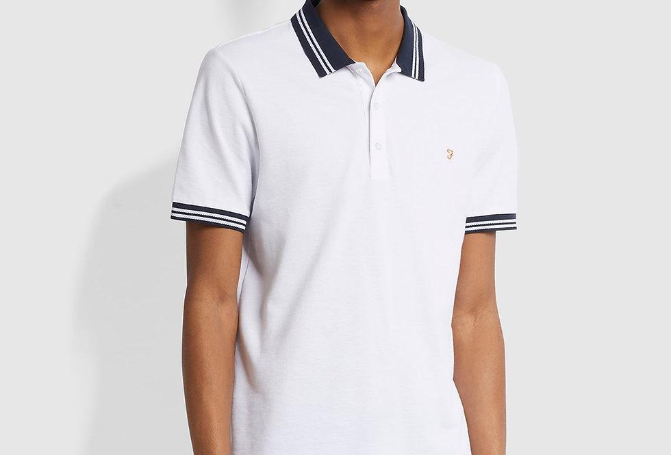 Farah - Stanton Slim Fit Tipped Polo Shirt - White